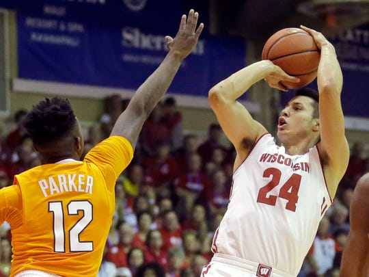 Wisconsin guard Bronson Koenig shoots over Tennessee guard Kwe Parker.