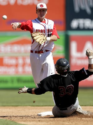 Frostburg State's JT Tipton forces Ramapo College's Ryan Rinsky out at second during the NCAA Division III Baseball Championship on Friday at Neuroscience Group Field at Fox Cities Stadium in Grand Chute.