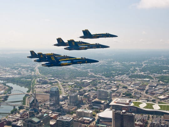 The U.S. Navy Flight Demonstration Squadron, the Blue Angels, fly the world-renowned Delta Formation over downtown Nashville on June 12. The Blue Angels traveled to Nashville in preparation for their performance at The Great Tennessee Air Show in Smyrna, Tenn., June 14-15.