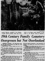 An August 28, 1977 Asbury Park Press article describes a previous effort to clean up the Rogers family burial ground in Berkeley's Bayville section.