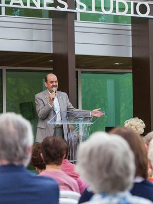 Scott Phillips speaks at the dedication ceremony for the Eileen and Allen Anes Studio Theatre at the Beverley Taylor Sorenson Center for the Arts, Thursday, August 18, 2016.