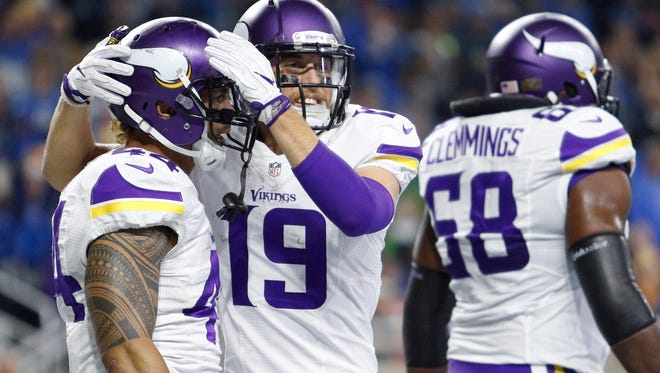 Vikings wide receiver Adam Thielen is getting more looks with No. 1 wide receiver Stefon Diggs injured.