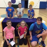 Oconto Elks Lodge Hoopshoot champions are, back row: Kyle Bowman, Braden Shallow and Cooper Campshure; front row: Kate Bahrke, Kyanne Wusterbarth and Elizabeth DeRousha.