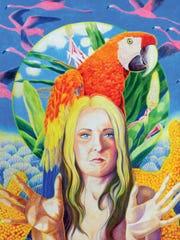 "A self portrait (30"" x 22""colored pencil) by local artist Kyra Belan"
