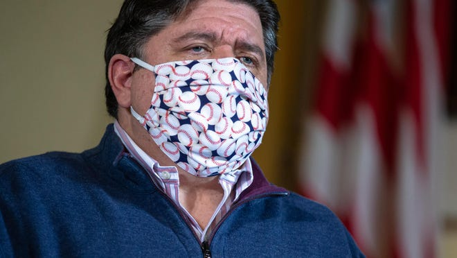 Illinois Gov. JB Pritzker speaks May 21 at the Illinois State Capitol in Springfield.