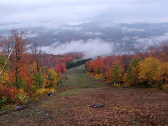A hike to the top of  the mountain gives  one this view of the Catskills.