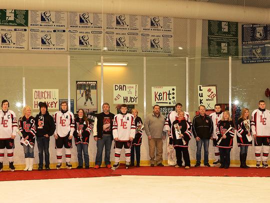 Livonia Churchill honored its senior hockey players