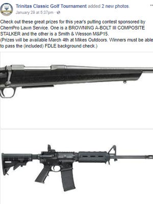 A private Christian academy in Pensacola is featuring two rifles as prizes in a charity golf event.