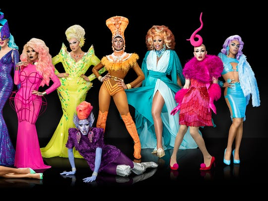"The cast of the ninth season of ""RuPaul's Drag Race"" on VH1 includes Wilmington native Peppermint (third from right), a transgender drag performer."