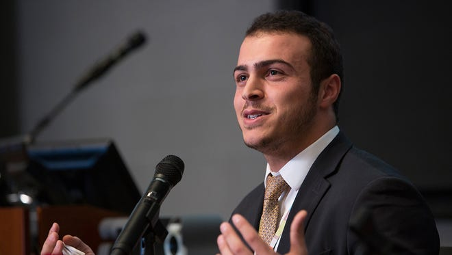 Hashem Abu Sham'a, an  Earlham College student, speaks at the 2015 Beyond Survival: Livelihood Strategies for Refugees in the Middle East Conference.