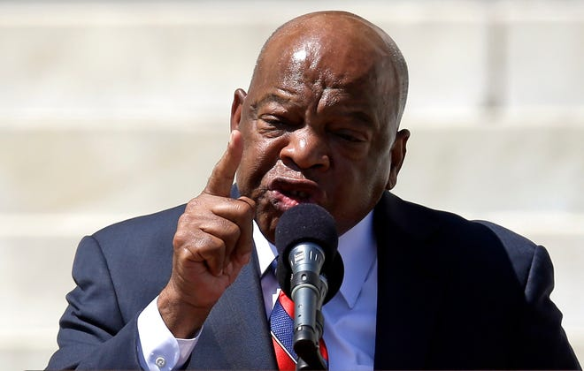 Rep. John Lewis, D-Ga., speaks at a rally to commemorate the 50th anniversary of the  March on Washington in 1963.