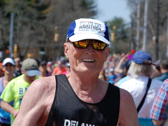 Doug White running in a recent Delaware Marathon Running Festival race.