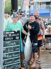 A 62 pound tuna was caught by angler Rob Howes aboard