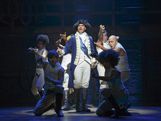 Christopher Jackson as George Washington in the Broadway musical Hamilton at the Richard Rodgers Theatre.