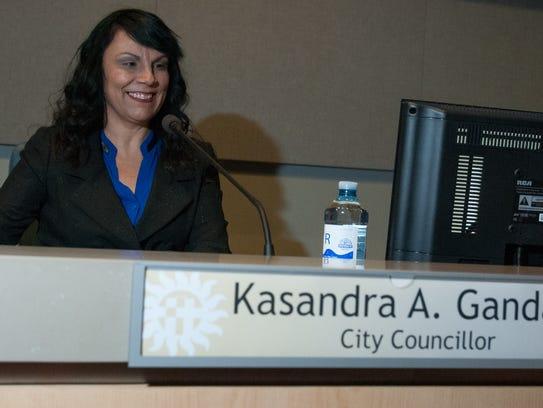 Kasandra Gandara takes her place on the dais Monday