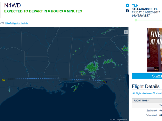 This screenshot shows the flight leaving TLH Saturday