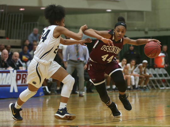 Ossining's Aubrey Griffin (44) drives to the basket