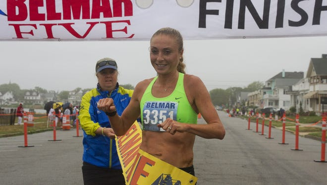 Ciara Peterson of California is the first woman across at the 2016 Belmar Five Mile Run  on July 9. She also won the Asbury Park Sheehan 5K Classic.