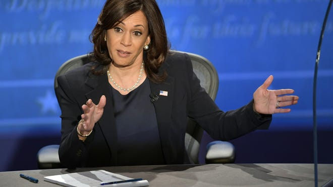 Oct 7, 2020; Salt Lake City, UT, USA; Sen. Kamala Harris speaks on stage during the Vice Presidential debate between Republican nominee Vice President Mike Pence and Democratic nominee Sen. Kamala Harris held at Kingsbury Hall at The University of Utah. Susan Page, Washington Bureau Chief for USA TODAY, is the moderator.  Mandatory Credit: Jack Gruber-USA TODAY