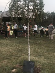 A tree planted at Lakewood Racquet Club was dedicated in memory of former employee Polly Earick before Monday's finals in the 84th News Journal/Richland Bank/matchmatetennis.com Tennis Tournament. A plaque bearing her name leans against the tree and will hang in the club. Earick died this past February.