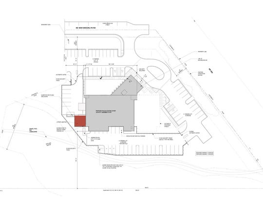 A conceptual site plan of how the city's police and court programs would fit in the CHI building on Bainbridge.