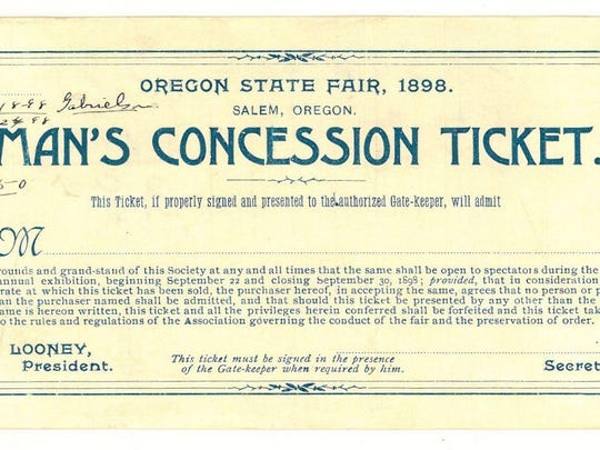 """Admission to the fair was more costly for a man than a woman. This is a """"Man's Concession Ticket"""" from the 1898 fair."""