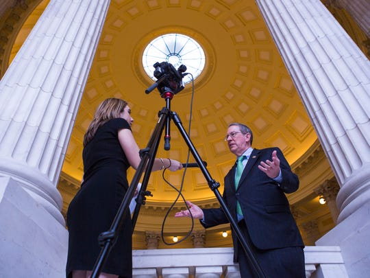 U.S. Rep. Bob Goodlatte conducts a television interview in the United States Capitol on Tuesday, April 14, 2015.
