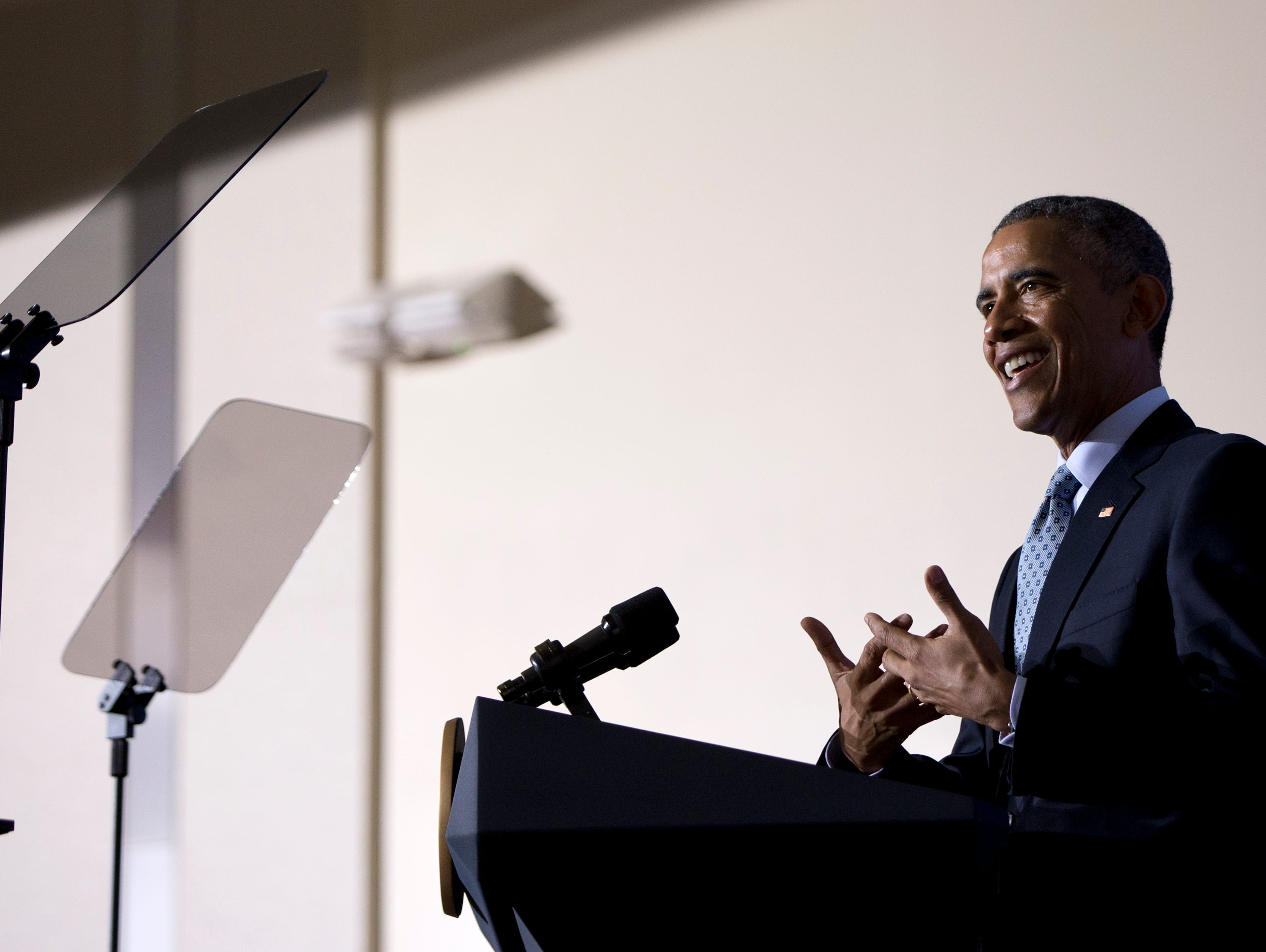 President Obama speaks at the Federal Trade Commission offices in Washington Monday.