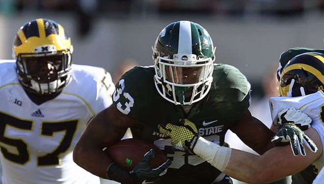 Michigan State RB Jeremy Langford scored a touchdown with 28 seconds left and MSU comfortably ahead.