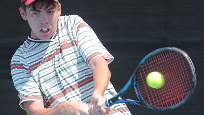 San Antonio's Trey Hilderbrand returns a shot against longtime friend and doubles partner Campbell Erwin of San Antonio in their Boys 18 Singles match Wednesday at HSU's Streich Tennis Center. Hilderbrand, the No. 1 seed, won 6-2, 6-1.