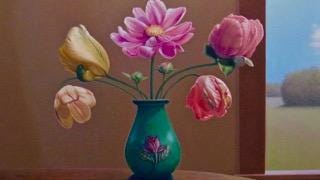 """Springtime Floral Arrangement with Green Flower Vase,"" oil on canvas by John Sayers, one of the featured artists in a May 27 reception for Exhibit I at Edgewood Orchard Galleries."
