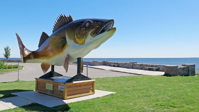 A walleye statue in Garrison, Minnesota, stands next to Lake Mille Lacs, where walleye used to be king.