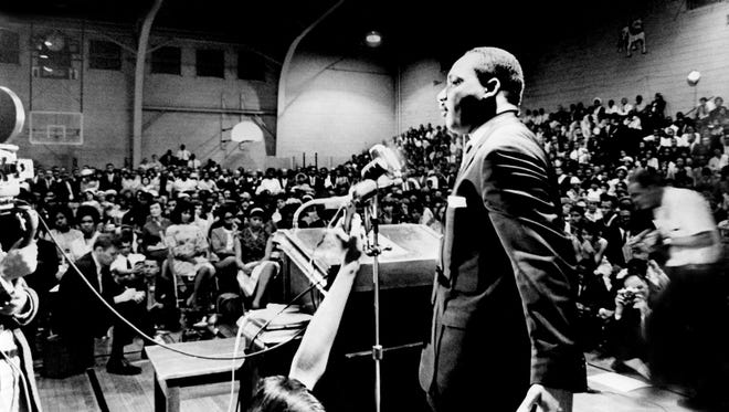 Dr. Martin Luther King speaks to an estimated 2,000 people packed into Fisk University in Nashville May 3, 1964.