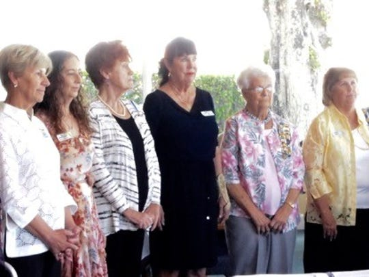 Newly installed officers of the Cora Stickney Harper Chapter, NSDAR for 2017-2019  from left: Mary Rhodes, Historian; Linda Gallup, Registrar; Janel Cohen, Assistant Treasurer; Donna Williford, Corresponding Secretary; Susan Darr, Recording Secretary; Lois Donohue, Chaplain; Karon Drew, Vice Regent; Marsha Braun, Regent.  photographer Joanne Humphries