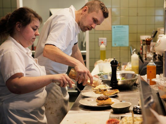 Chefs Jaclyn Major and Patrick Densham cook brunch at Butch + Babe's restaurant on North Winooski Avenue in Burlington.