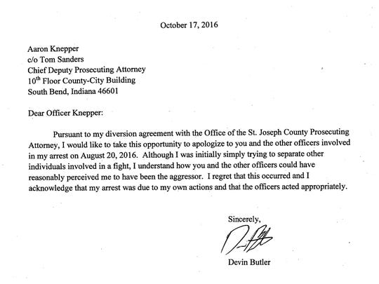Letter from Notre Dame's Devin Butler to South Bend police officer Aaron Knepper.