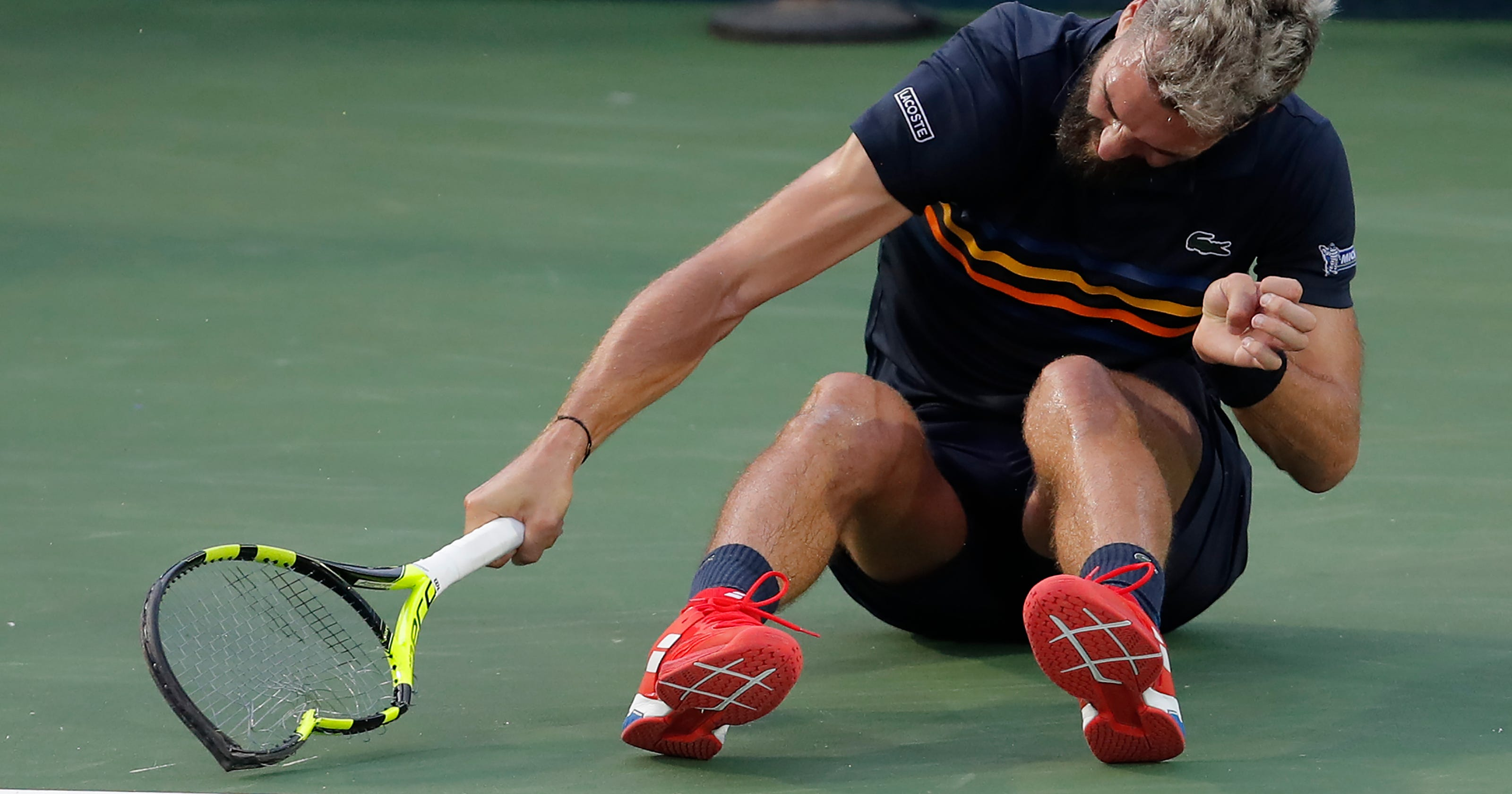 French tennis player Benoit Paire unleashes racket-breaking tantrum at Citi  Open 58209bfd49aab