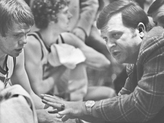 Joe Heath coaches in his last game in 1977, a semistate loss to East Chicago Washington.