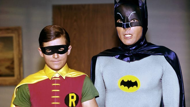 Burt Ward as Robin and Adam West as Batman from the 1960s hit are pictured in a publicity photo from 20th Century fox Television.