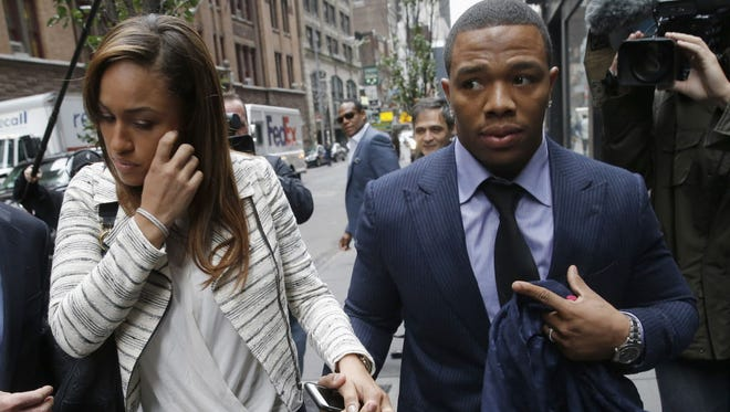 Janay and Ray Rice in New York City on Nov. 5.