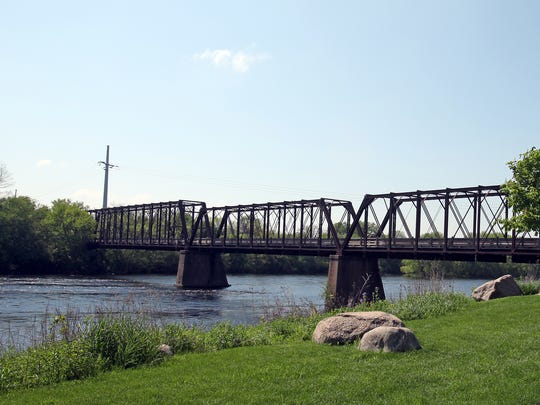 The Chippewa River State Trail crosses the Chippewa River in Eau Claire via an old railroad bridge.