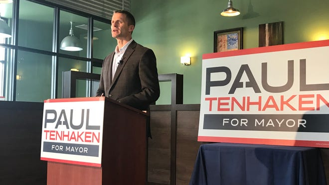 Sioux Falls mayoral candidate Paul TenHaken discusses his 100-day strategy during a news conference Wednesday at his campaign headquarters.
