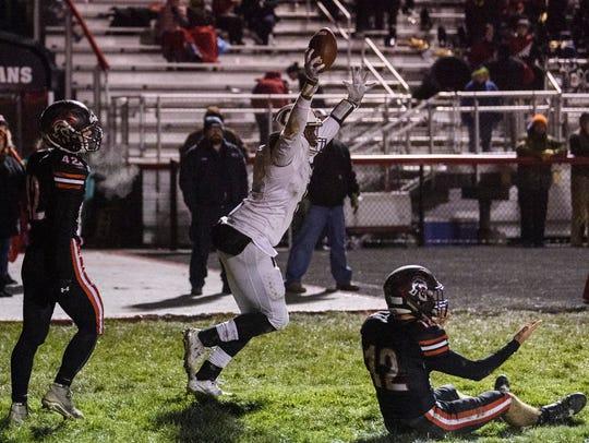 Central's Joseph Space (8) celebrates his touchdown