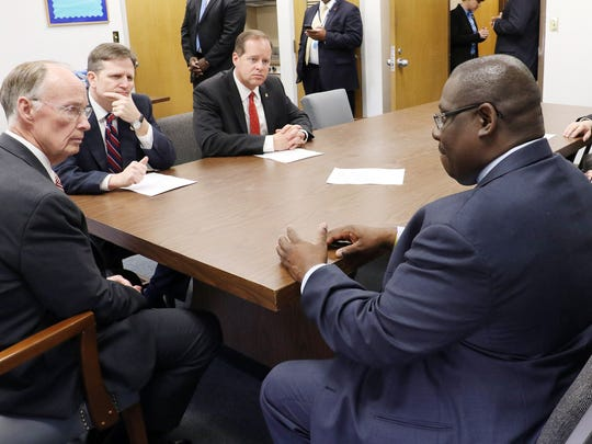 Alabama Governor Robert Bentley meets with Holman Prison Warden Carter Davenport and other officials to be updated on two disturbances that have occurred in the last three day at Holman Prison in Atmore.