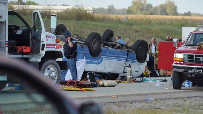 Emergency crews responded to a van crash on I-69 in Gibson County in southwestern Indiana on Sept. 24, 2015. The 16-passenger van was carrying 24 people when a tire blew out, causing the vehicle to overturn.