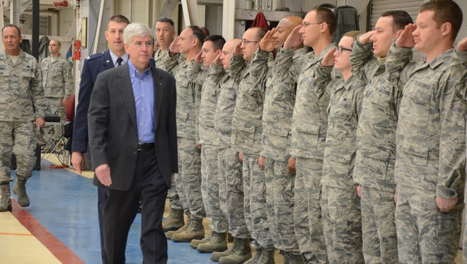 Gov. Rick Snyder at the Battle Creek Air National Guard Base earlier this year,