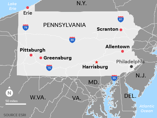 Map locates 6 Pennsylvania cities that have been the focus of an investigation by a grand jury on sexual abuse by priests in the town's dioceses.