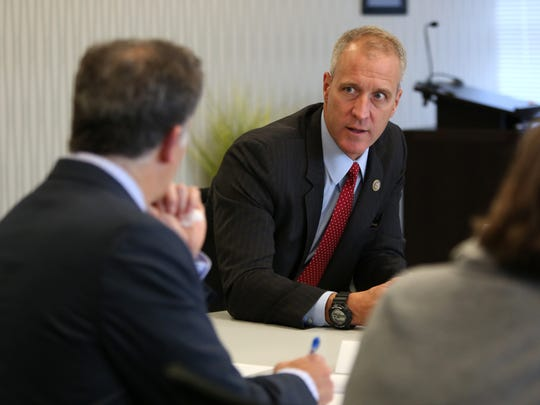 Congressman Sean Patrick Maloney of New York's 18th district meets with the editorial board at the The Journal News / lohud offices Oct. 2, 2017 in White Plains.