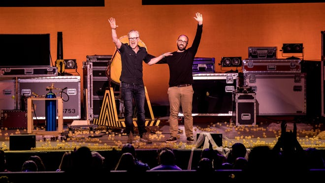"Adam Savage, left, and Michael Stevens try to convey their love of science in ""Brain Candy Live,"" a stage production that use a variety of props and interactive demonstrations to explain scientific principles."