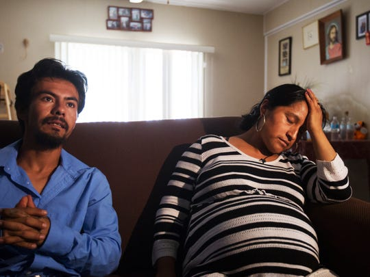 An exhausted Rita Hernandez, the mother of 9-year-old Diana Alvarez, and her live-in partner, Uribe Jimenez, talk to the media Saturday after news broke that a former roommate, Jorge Guerrero, was detained in a neighboring county.  Diana was not with him and investigators are still searching for the San Carlos Park girl.